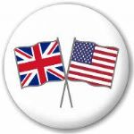 Great Britain and USA Friendship Flag 25mm Flat Back